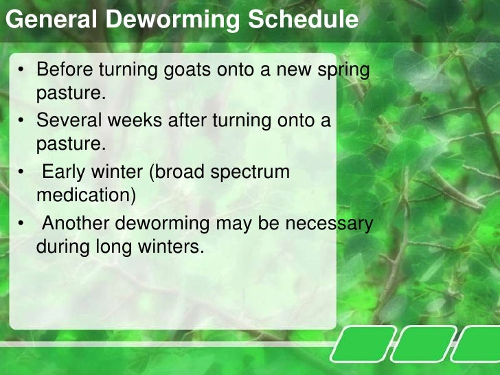 goat deworming chart