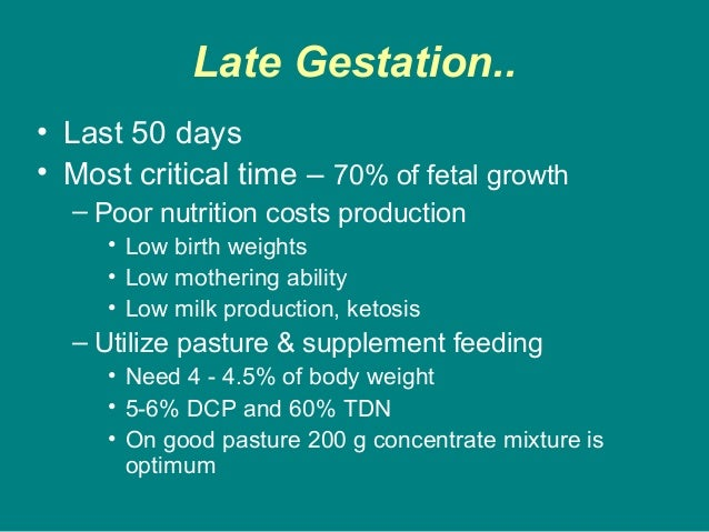 Late Gestation.. • Last 50 days • Most critical time – 70% of fetal growth – Poor nutrition costs production • Low birth w...