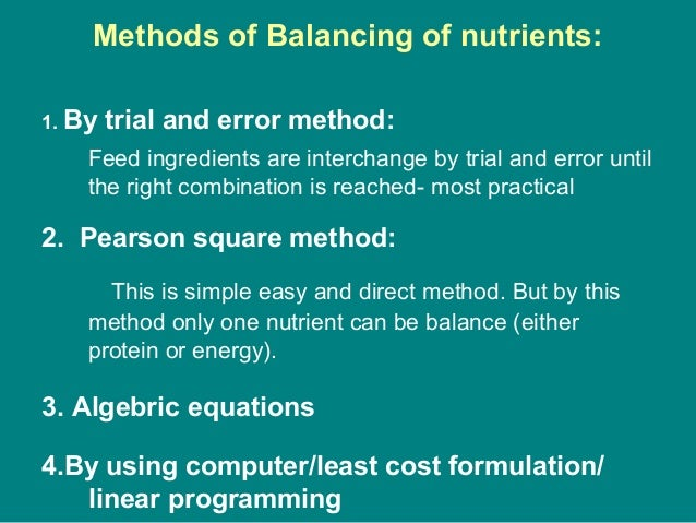 Methods of Balancing of nutrients: 1. By trial and error method: Feed ingredients are interchange by trial and error until...