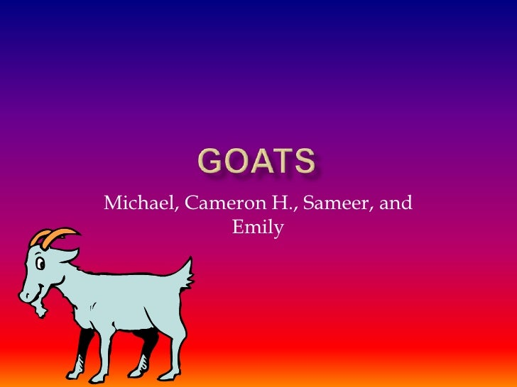 Goats<br />Michael, Cameron H., Sameer, and Emily <br />