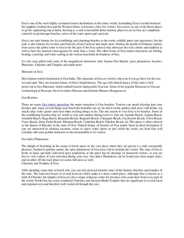 Visit to goa essay
