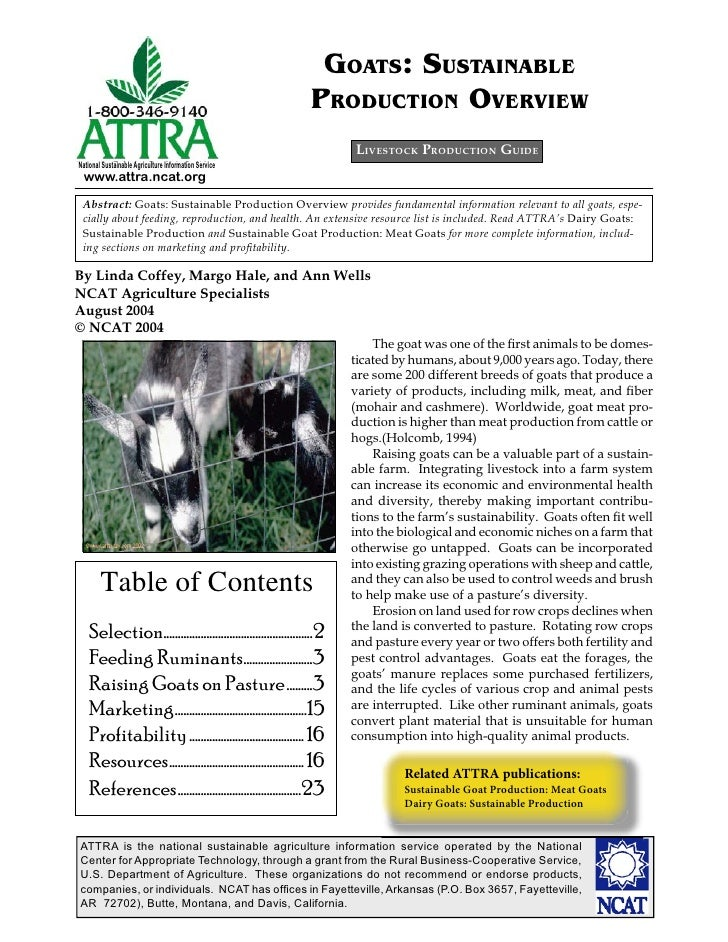 GOATS: SUSTAINABLE                                                              PRODUCTION OVERVIEW                       ...