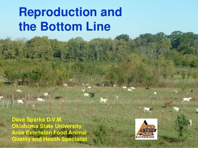 Reproduction and  the Bottom LineDave Sparks D.V.M.Oklahoma State UniversityArea Extension Food AnimalQuality and Health S...