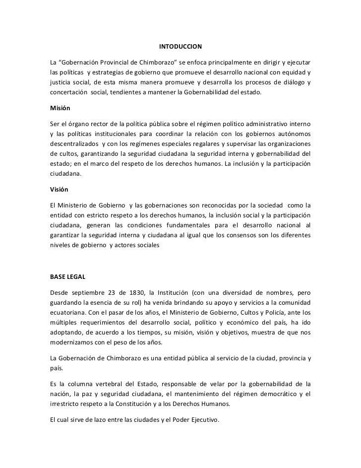 """INTODUCCION<br />La """"Gobernación Provincial de Chimborazo"""" se enfoca principalmente en dirigir y ejecutar las políticas  y..."""