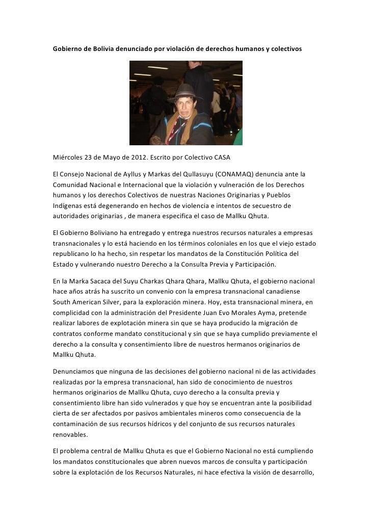 Gobierno de Bolivia denunciado por violación de derechos humanos y colectivosMiércoles 23 de Mayo de 2012. Escrito por Col...