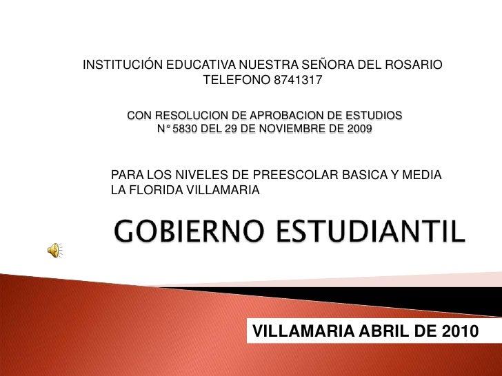 INSTITUCIÓN EDUCATIVA NUESTRA SEÑORA DEL ROSARIO<br />TELEFONO 8741317<br />CON RESOLUCION DE APROBACION DE ESTUDIOSN° 583...