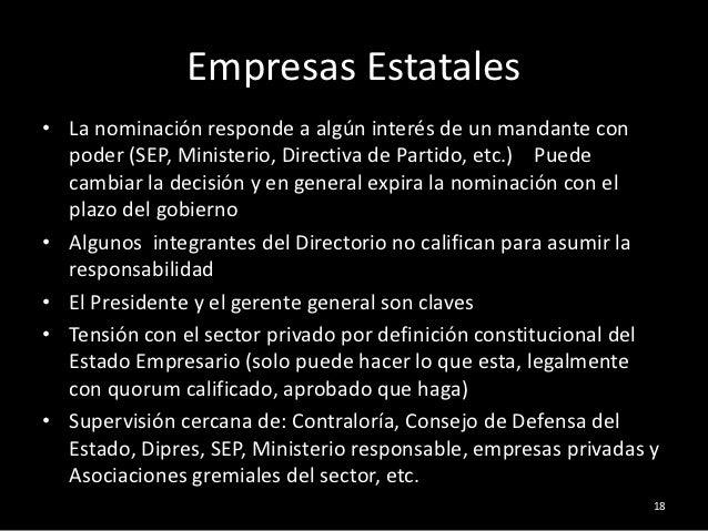 Empresas Estatales• La nominación responde a algún interés de un mandante con  poder (SEP, Ministerio, Directiva de Partid...