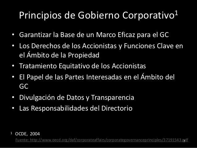 Principios de Gobierno Corporativo1• Garantizar la Base de un Marco Eficaz para el GC• Los Derechos de los Accionistas y F...