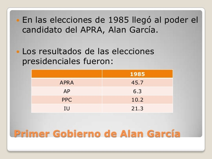Gobierno De Alan GarcíA PéRez (1985 1990) Slide 2