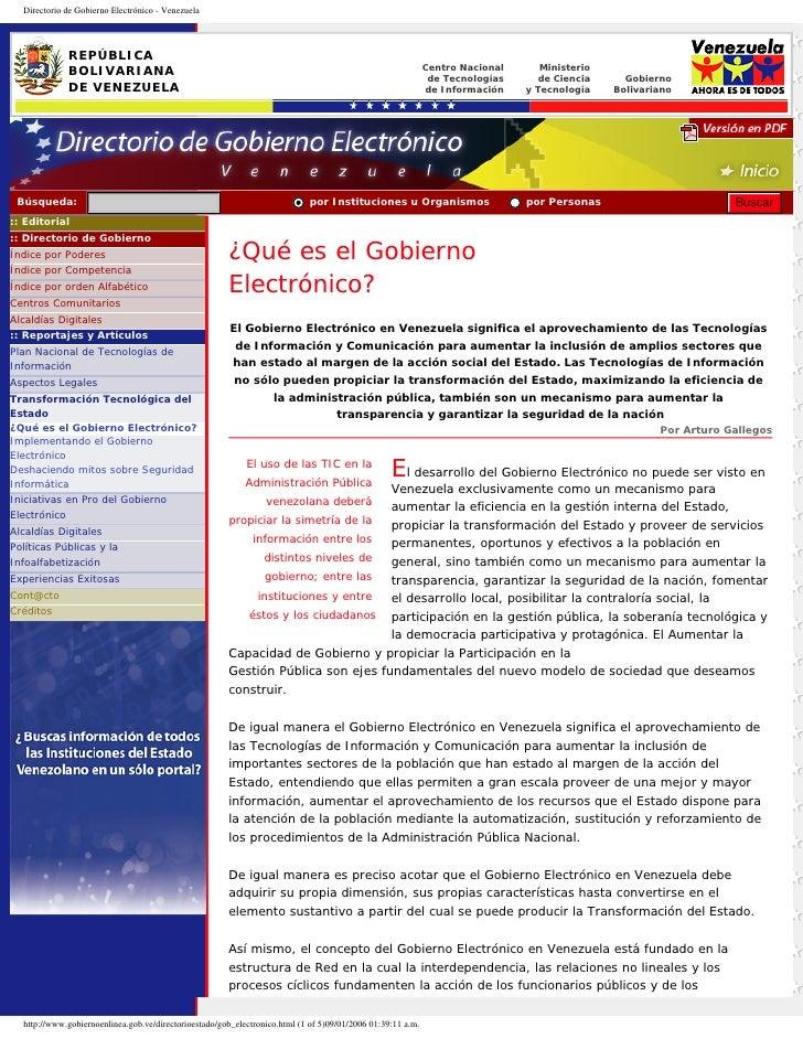 Directorio de Gobierno Electrónico - Venezuela             REPÚBLICA                                                      ...