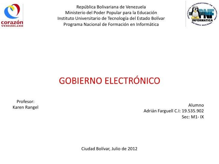 República Bolivariana de Venezuela                   Ministerio del Poder Popular para la Educación               Institut...