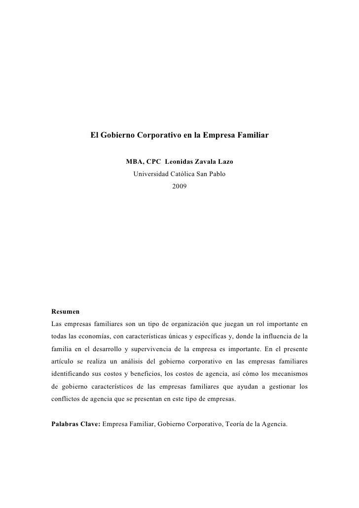 El Gobierno Corporativo en la Empresa Familiar                          MBA, CPC Leonidas Zavala Lazo                     ...