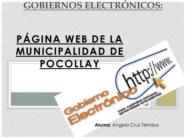 PÁGINA WEB DE LAMUNICIPALIDAD DEPOCOLLAYGOBIERNOS ELECTRÓNICOS:Aluma: Angela Cruz Terroba