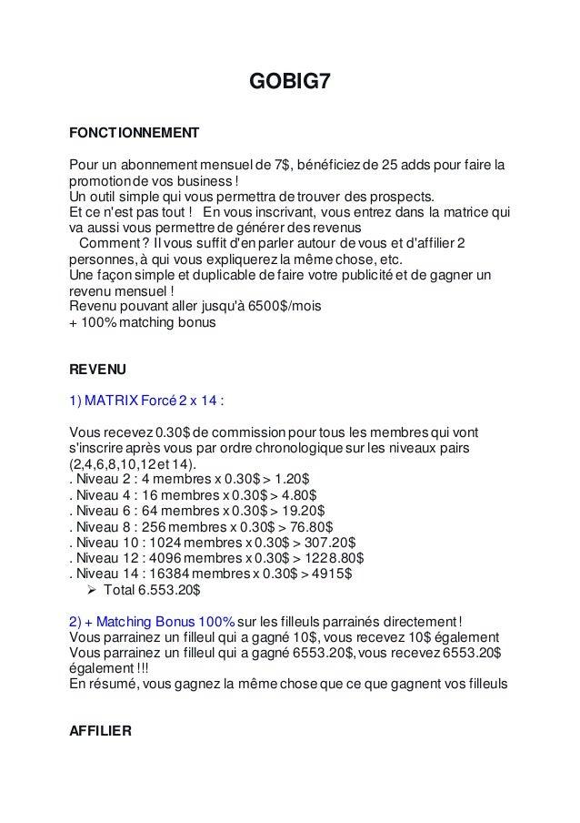 GOBIG7 FONCTIONNEMENT Pour un abonnement mensuelde 7$, bénéficiezde 25 adds pour faire la promotionde vos business ! Un ou...