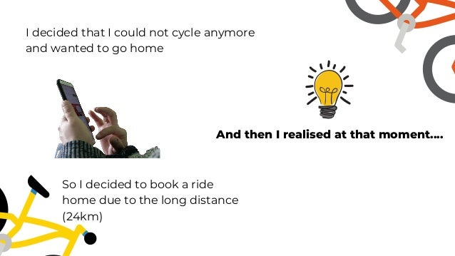 I decided that I could not cycle anymore and wanted to go home So I decided to book a ride home due to the long distance (...