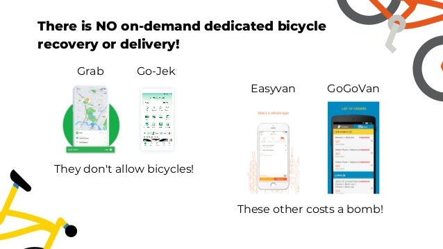 They don't allow bicycles! These other costs a bomb! There is NO on-demand dedicated bicycle recovery or delivery! Grab Go...
