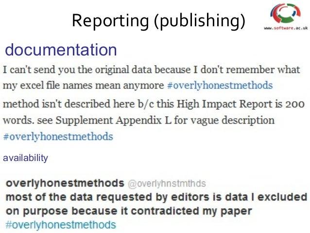 Reporting (publishing) availability documentation