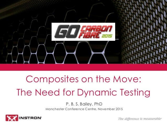 P. B. S. Bailey, PhD Manchester Conference Centre, November 2015 Composites on the Move: The Need for Dynamic Testing