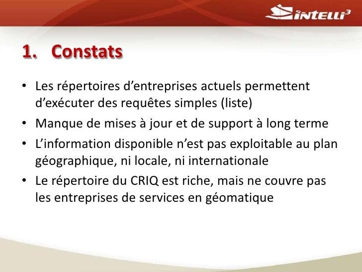 Géocontact -un répertoire géodécisionnel des entreprises en géospatial au Québec Slide 3