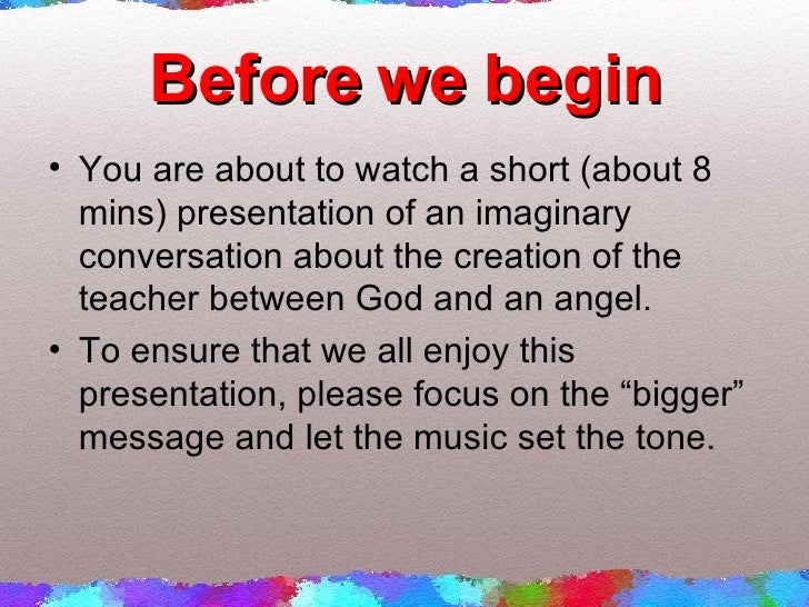Before we begin <ul><li>You are about to watch a short (about 8 mins) presentation of an imaginary conversation about the ...