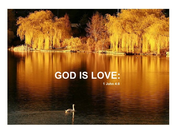GOD IS LOVE:  1 John 4:8
