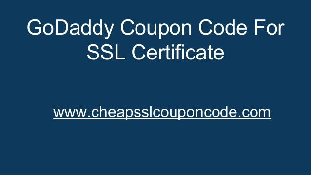 GoDaddy Coupon Code For SSL Certificate