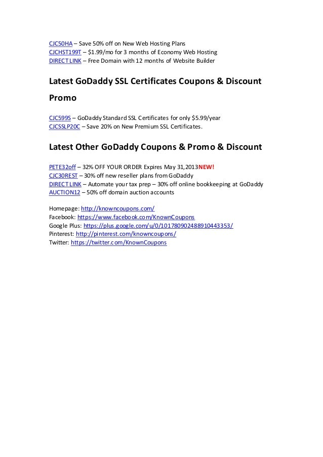 Godaddy Coupons 599