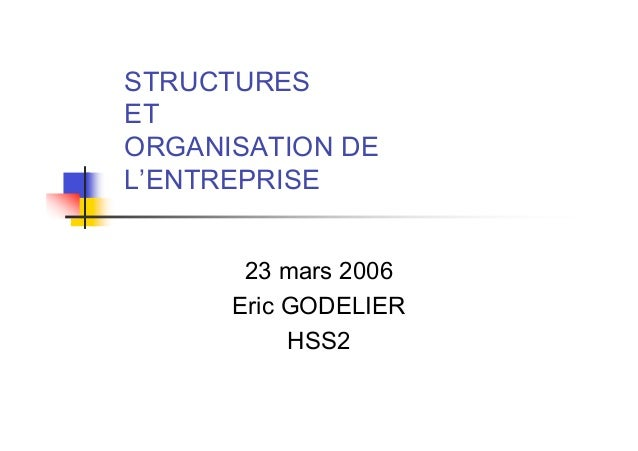 STRUCTURESETORGANISATION DEL'ENTREPRISE       23 mars 2006      Eric GODELIER           HSS2