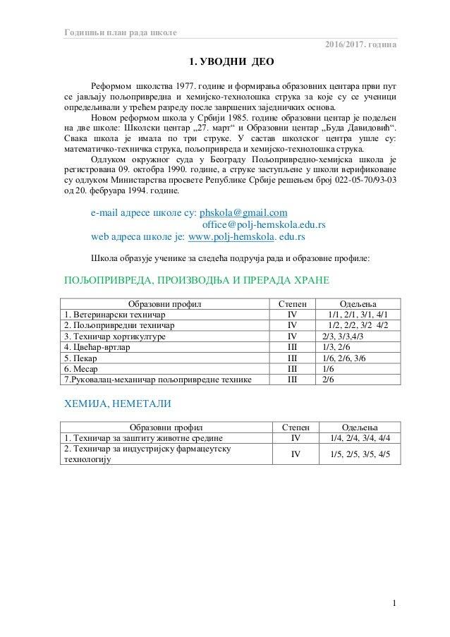 Годишњи план рада школе 2016/2017. година 1 1. УВОДНИ ДЕО Реформом школства 1977. године и формирања образовних центара пр...