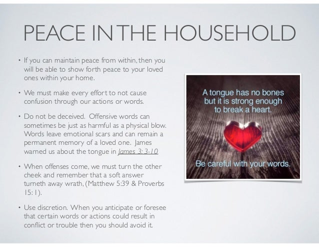 PEACE INTHE HOUSEHOLD • Don't intentionally start arguments. • Now arguments are inevitable. So when arguing with a loved ...