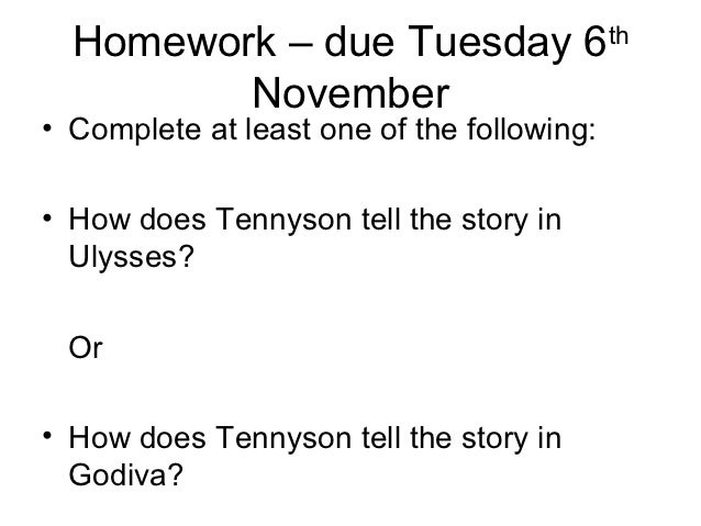 how does tennyson tell the story of godiva Tennyson's narrative methods are effective at conveying tithonus's confused and regretful state of mind we will write a custom essay sample on how does tennyson tell the story of tithonus.