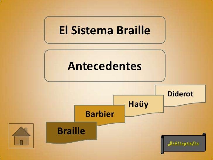 El Sistema Braille  Antecedentes                           Diderot                    Haüy          BarbierBraille        ...