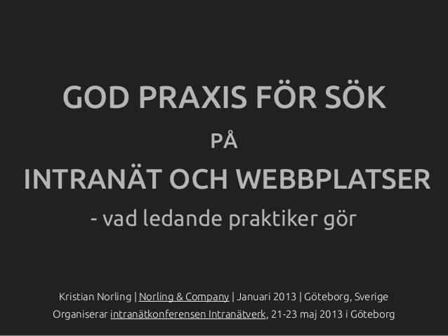 GOD PRAXIS FÖR SÖK                                  PÅINTRANÄT OCH WEBBPLATSER        - vad ledande praktiker gör  Kristia...