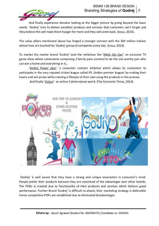 marketing strategies of godrej Promotion in the marketing mix of godrej godrej has gone for an all-out promotional strategy that is well planned and is executed at the highest level in order to.