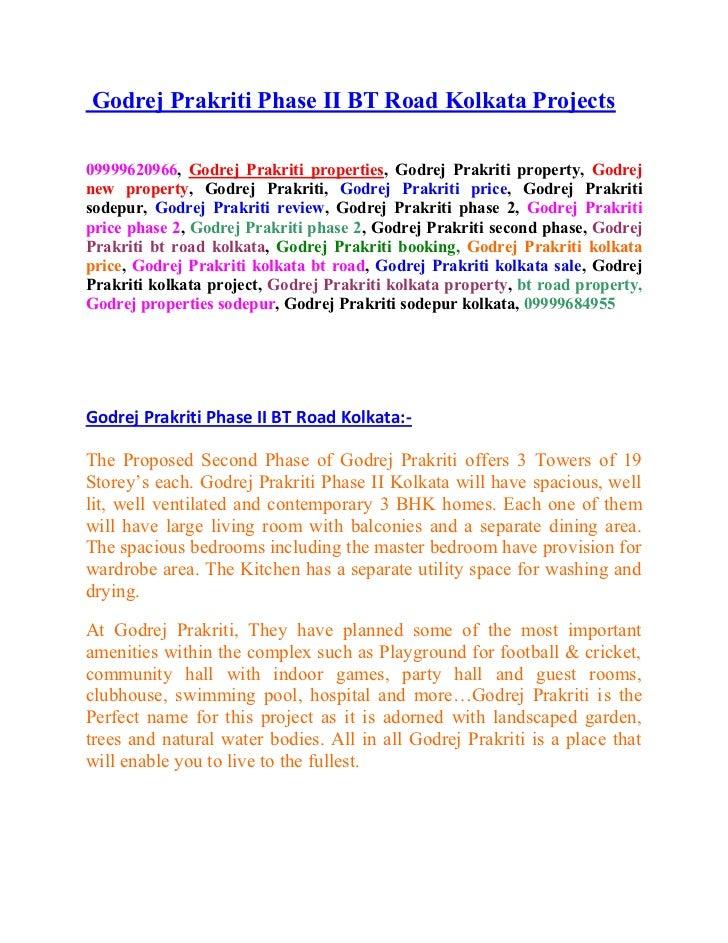 Godrej Prakriti Phase II BT Road Kolkata Projects09999620966, Godrej Prakriti properties, Godrej Prakriti property, Godrej...