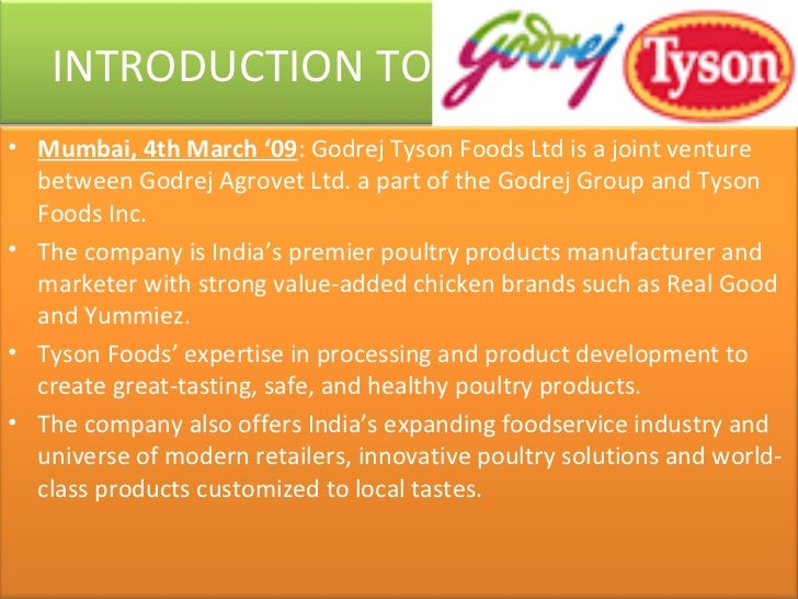 an introduction to the company tyson foods inc The paper produces an analysis of the issues financial analysis and recommendation to the company tyson foods, inc introduction synopsis tyson foods, inc is the world's largest fully integrated producer tyson foods (tyson) produces, distributes and markets chicken, beef.