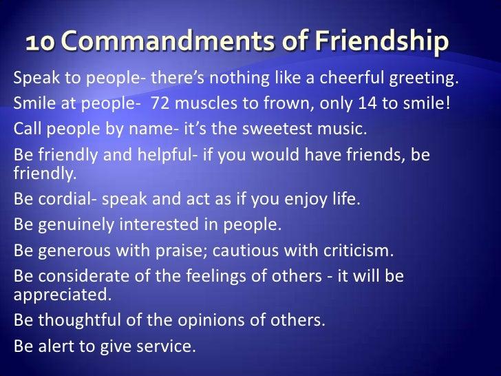 The 10 Commandments of Friendship