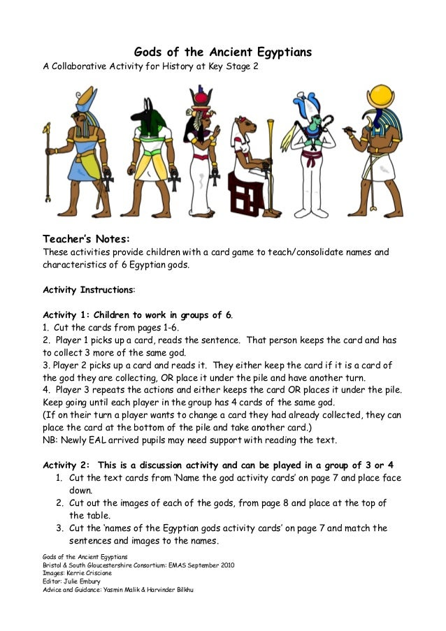 graphic regarding Ancient Egypt Printable Activities named Gods of the historic egyptians worksheet