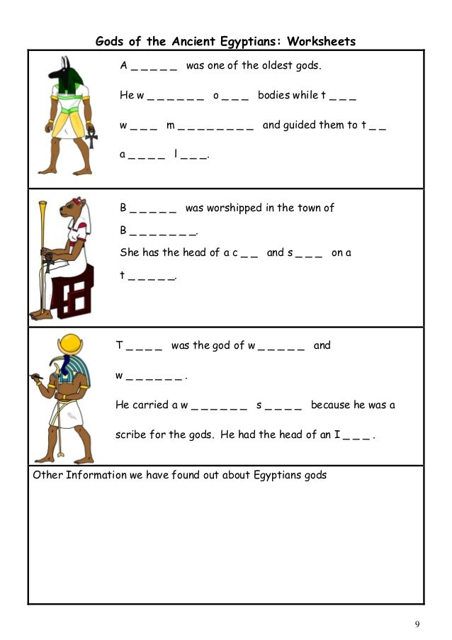 Printables Ancient Egypt Worksheets worksheet ancient egypt worksheets eetrex printables gods of the egyptians name god activity cards images 8
