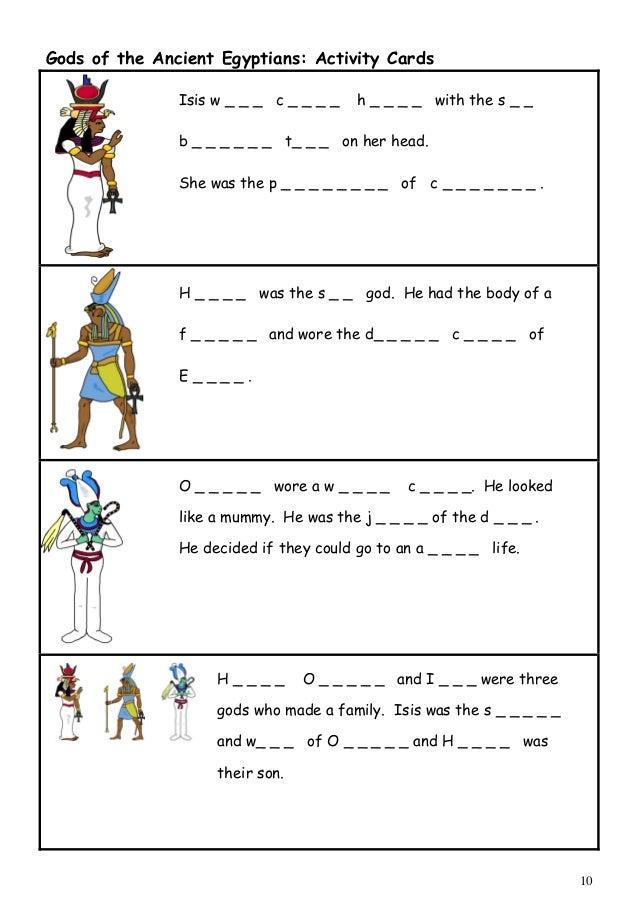 Egyptian Gods Worksheet Worksheets For School - Getadating
