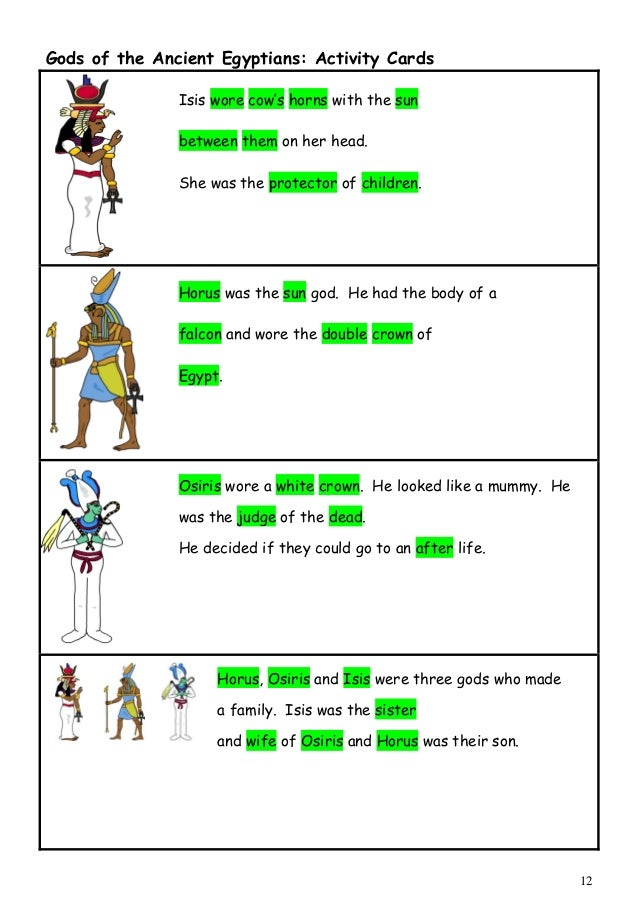 Egyptian gods and goddesses Clothing of people Posters Worksheets