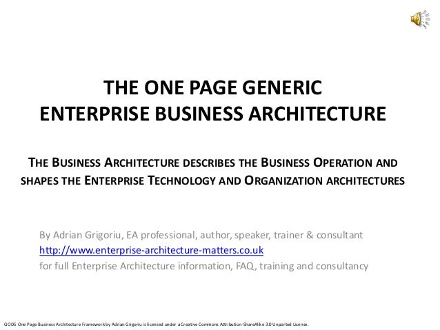 THE ONE PAGE GENERIC ENTERPRISE BUSINESS ARCHITECTURE THE BUSINESS ARCHITECTURE DESCRIBES THE BUSINESS OPERATION AND SHAPE...