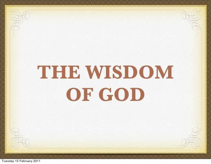 Evans, Our God is Awesome: God's wisdom