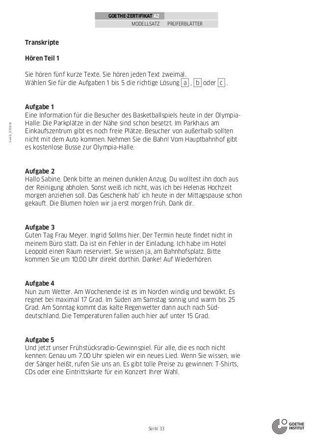 Goethe Zertifikat A2 Modellsatzerwachsene