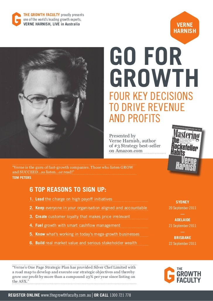 THE GROWTH FACULTY proudly presents        one of the world's leading growth experts,        VERNE HARNISH, LIVE in Austra...