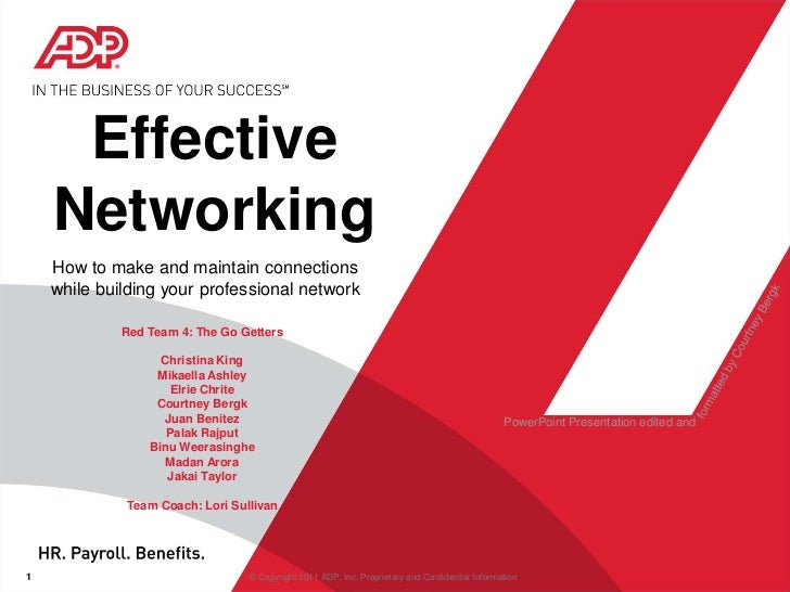 Effective Networking<br />How to make and maintain connections <br />while building your professional network<br />Red Tea...