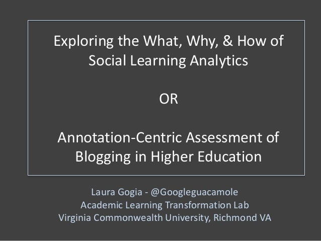 Exploring the What, Why, & How of Social Learning Analytics OR Annotation-Centric Assessment of Blogging in Higher Educati...