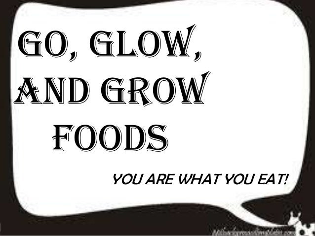 GO, GLOW, AND GROW FOODS YOU ARE WHAT YOU EAT!