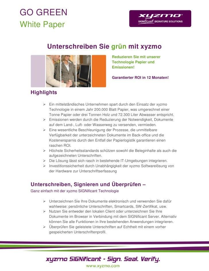 GO GREEN White Paper             Unterschreiben Sie grün mit xyzmo                                                 Reduzie...