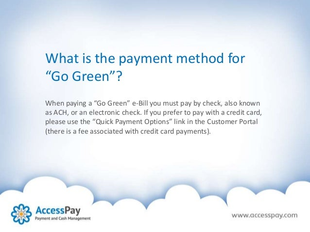 go green with accesspay paperless direct debits